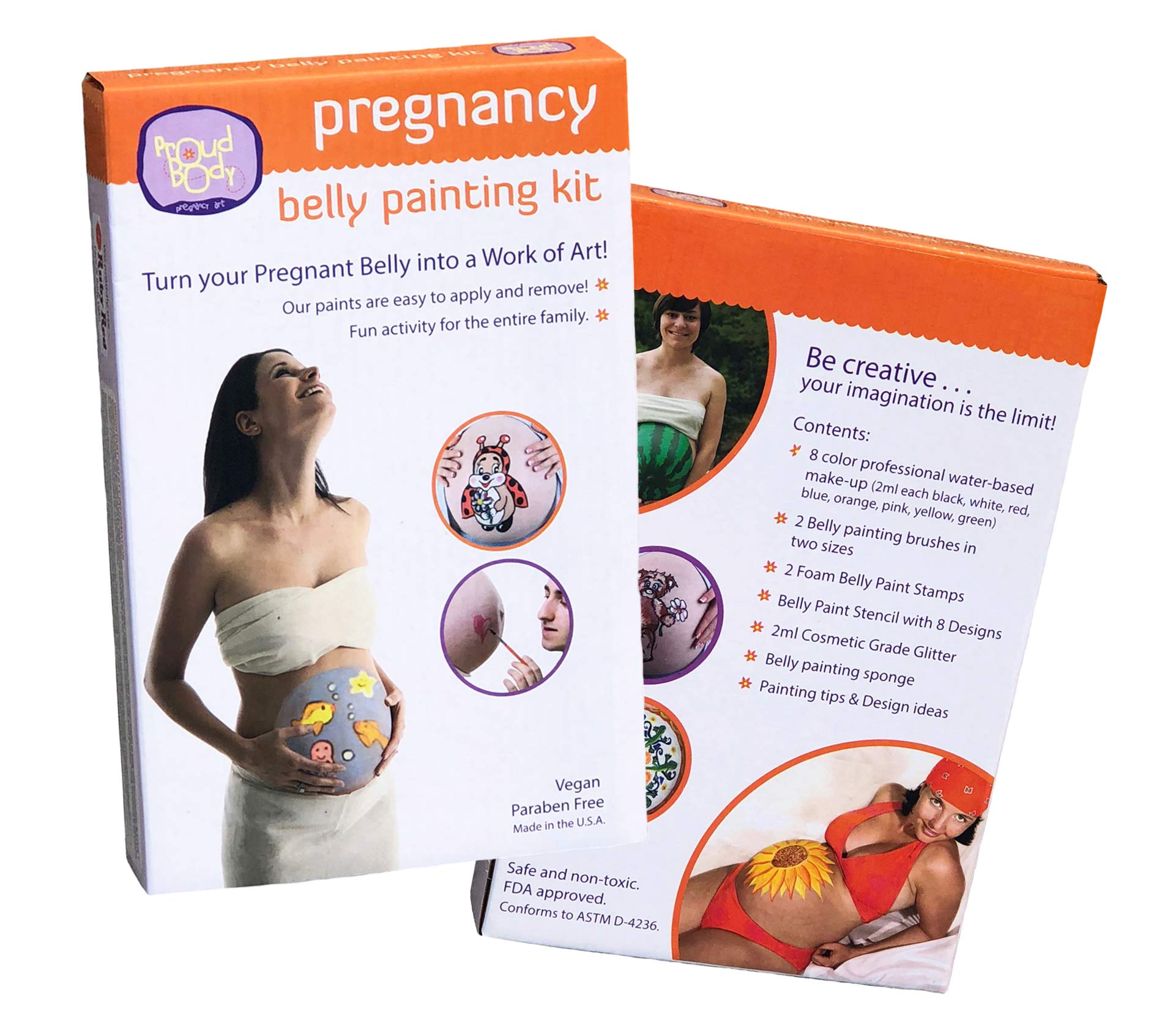 4e92b728a4e Amazon.com: ProudBody Pregnancy Belly Painting Kit | Featuring Stencils,  Glitter and Stamps: Baby