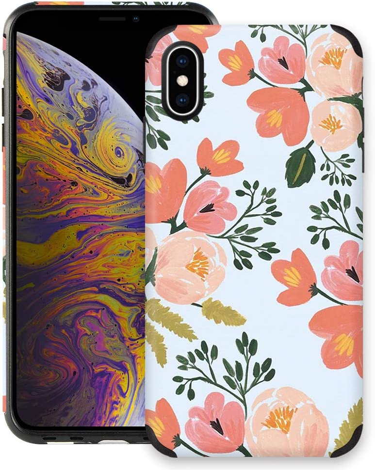 CUSTYPE Case for iPhone X, iPhone Xs Case Floral for Girls & Women, Floral Series Watercolor Camellia Flower Print Design PC Leather with TPU Bumper Slim Protective Cover for iPhone Xs/X 5.8''
