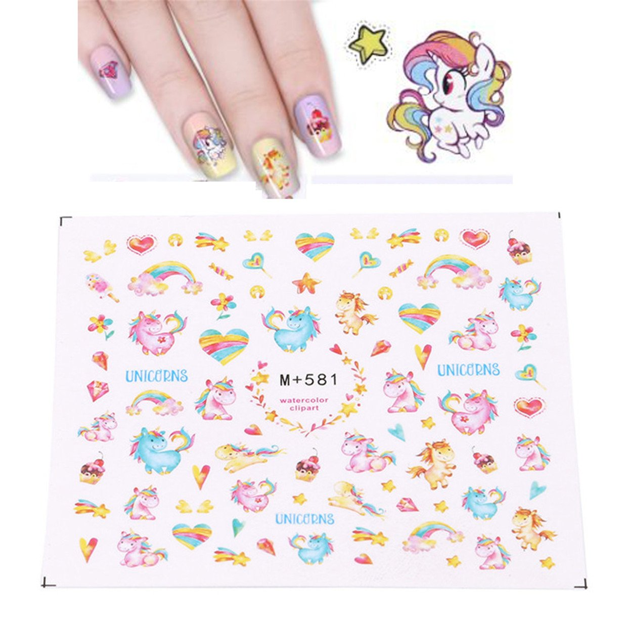 Ejy 5 Sheets Unicorn Nail Art Decoration Stickers Set Nail Art