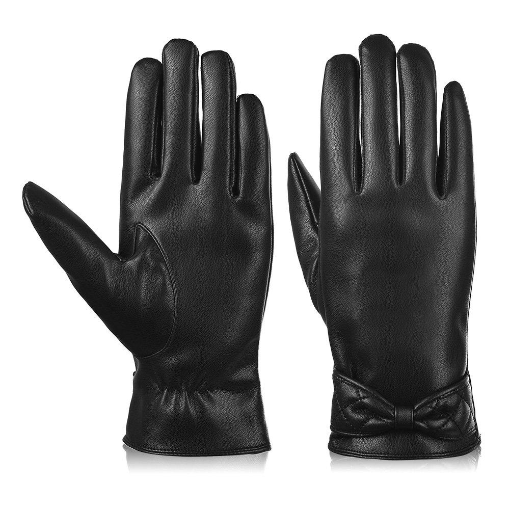 Vbiger Touchscreen Handschuhe Outdoor Handschuhe für Damen, Schwarz-2, M