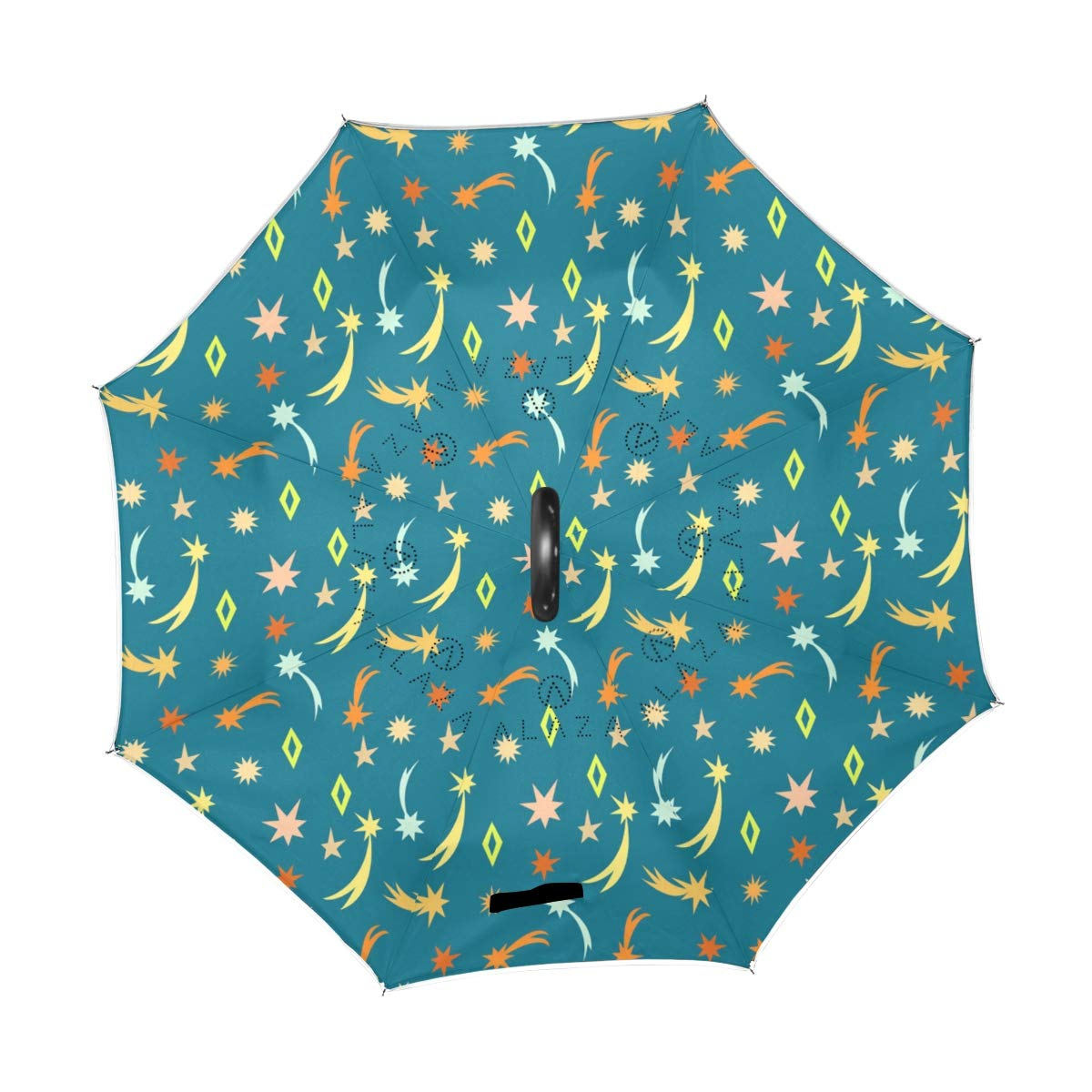 senya Double Layer Inverted Umbrellas Cute Meteor Stars Pattern Folding Umbrella Windproof UV Protection for Car Use Rain Outdoor With C-Shaped Handle by senya (Image #2)