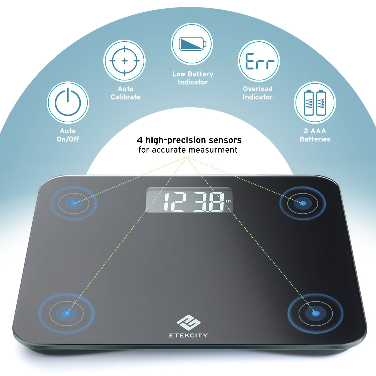Etekcity Digital Body Weight Bathroom Scale with Step-On Technology, 440 Pounds, Body Tape Measure Included (Black) EB441OB by Etekcity (Image #5)