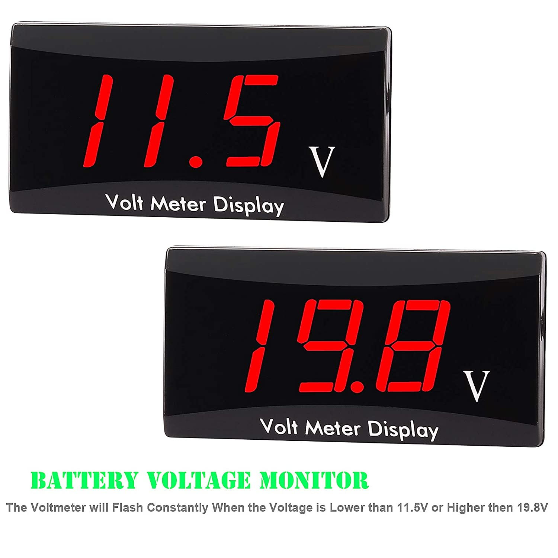 Versione aggiornata Kinstecks Voltmetro per Moto DC 12V Voltmetro Digitale Indicatore LED Display voltmetro per Auto Moto Batteria Voltaggio Monitor-Rosso