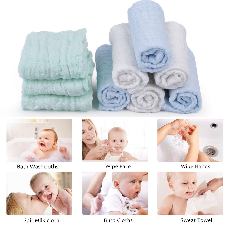 Muselina bebe algodon, Toallas suaves de muselina para bebés, varias funciones (10 paquete A): Amazon.es: Bebé