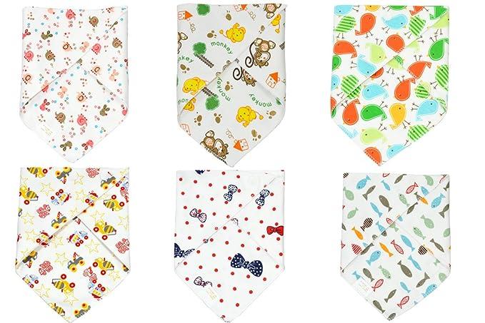 Jiexi Baberos de bandana con cierre de botón, 32 x 43 cm, algodón puro, 6 unidades: Amazon.es: Electrónica