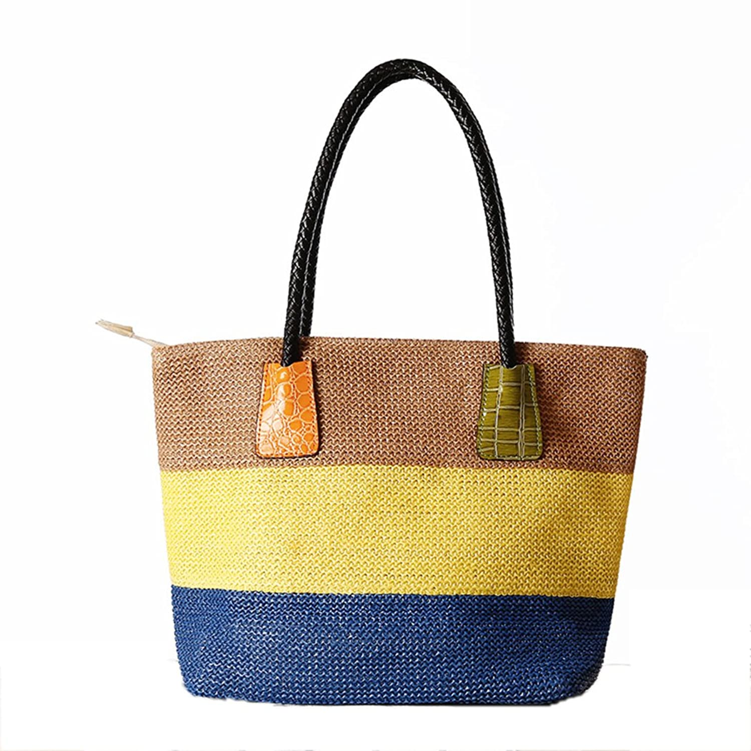 FAIRYSAN Women Summer Straw Shoulder Bag Weave Beach Bag Stripes Style Tote Bag Large