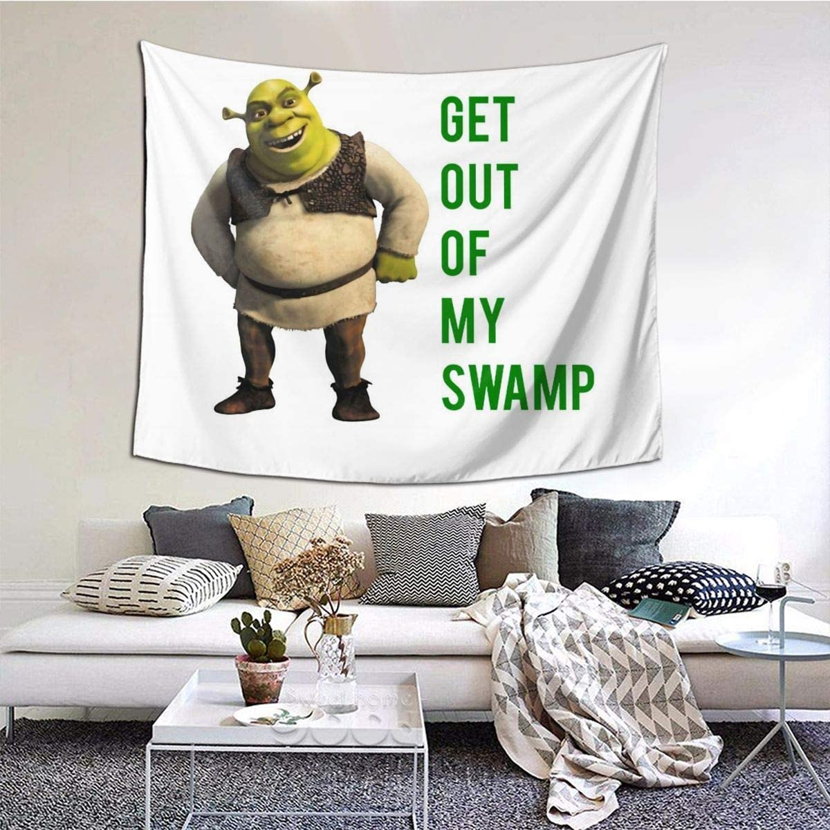 MOONSOON Get Out of My Swamp Boutique Tapestry Wall Hanging Tapestry Vintage Tapestry Wall Tapestry Micro Fiber Peach Home Decor 59.1x51.2 in