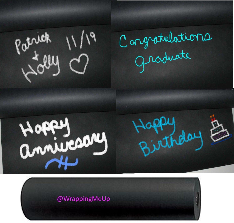 Amazon.com: 15u0027 X 2u0027  Chalkboard Black Kraft Paper Roll, #50lb Writeable  Table Cloth Paper, Black Kraft Gift Wrapping Paper: Everything Else