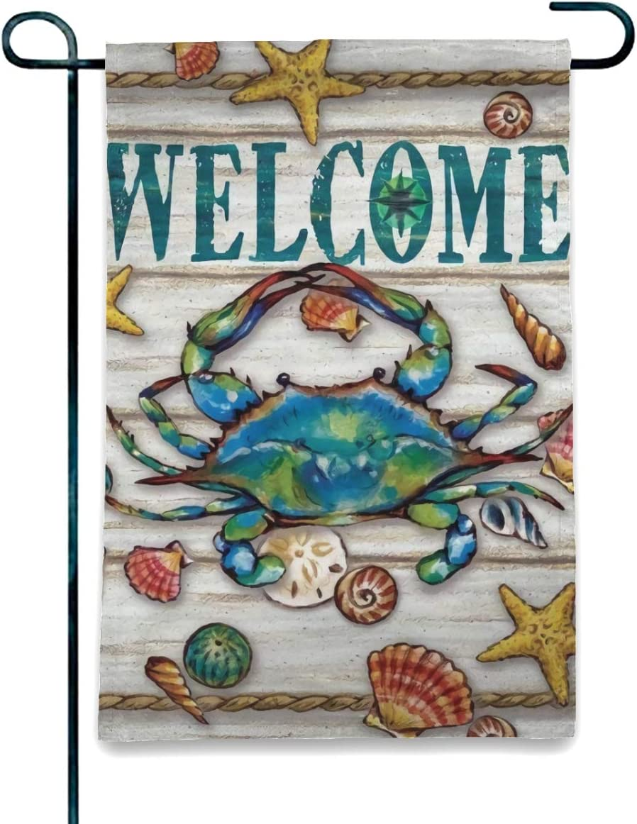 Welcome Seasonal Garden Flag Vertical Double Sided Polyester Yard Lawn Outdoor Decor Summer Blue Crab Welcome Garden Flag House Flag Decoration Double Sided Flag Banner Vivid Color spring summer gift