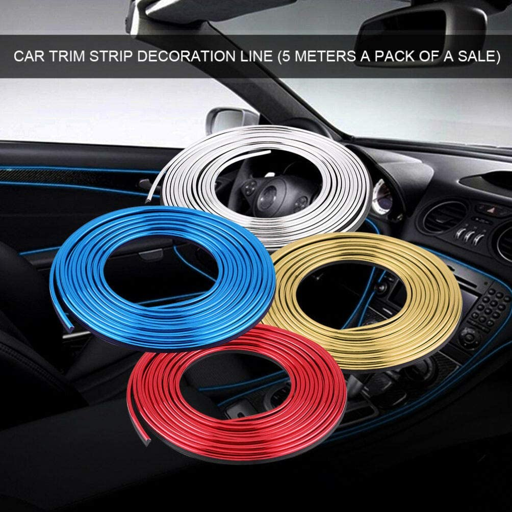 BESPORTBLE 1 Roll Car Interior Moulding Trim 5m Electroplating Color Film Car Interior Exterior Decoration Moulding Trim Strip line Accessory Blue