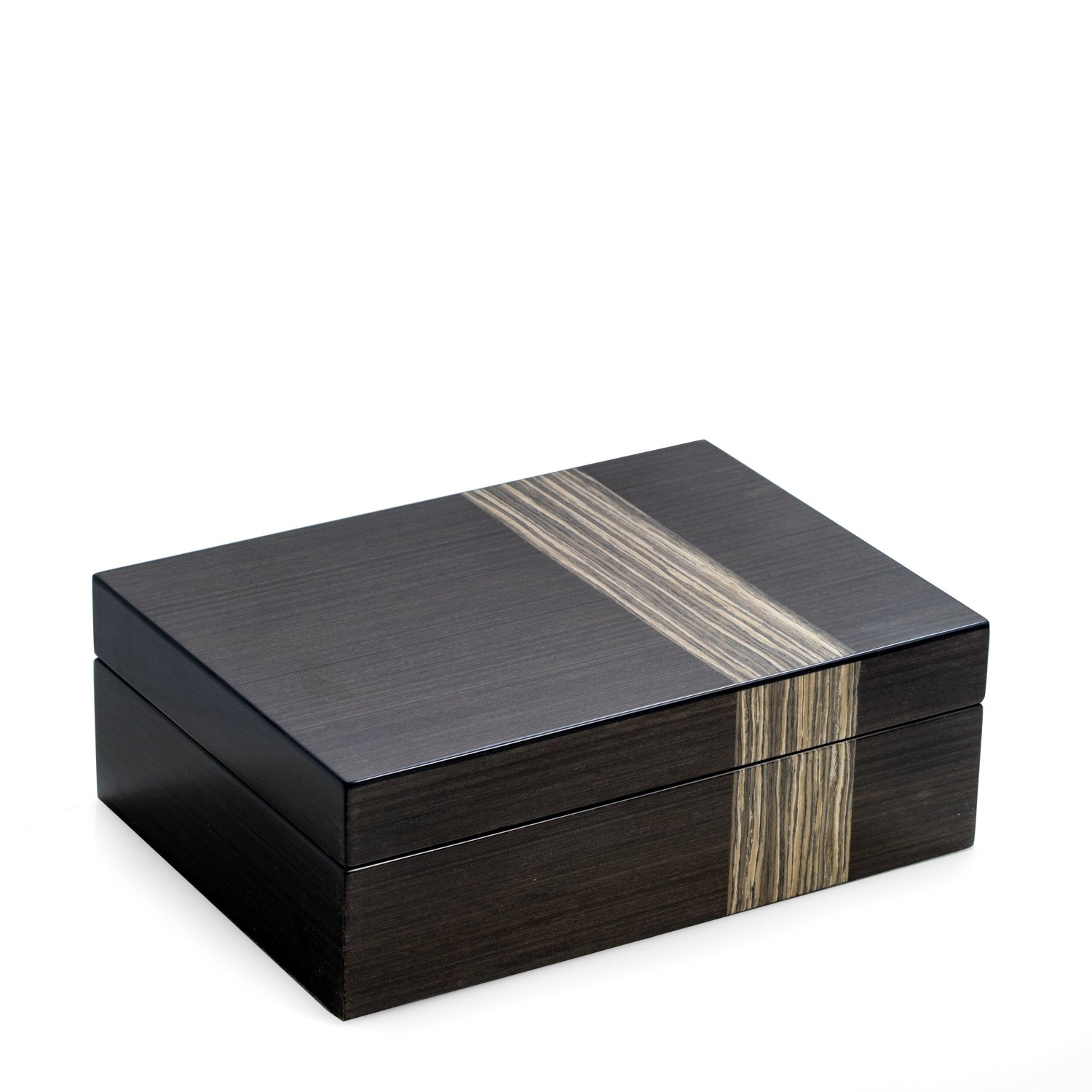 Time Factory AJ-BB677GRY Lacquered ''Ash'' Wood Valet Box with Multi Compartments for Storage, 4 Watch Pillows and Removable Valet Tray, Ash Wood