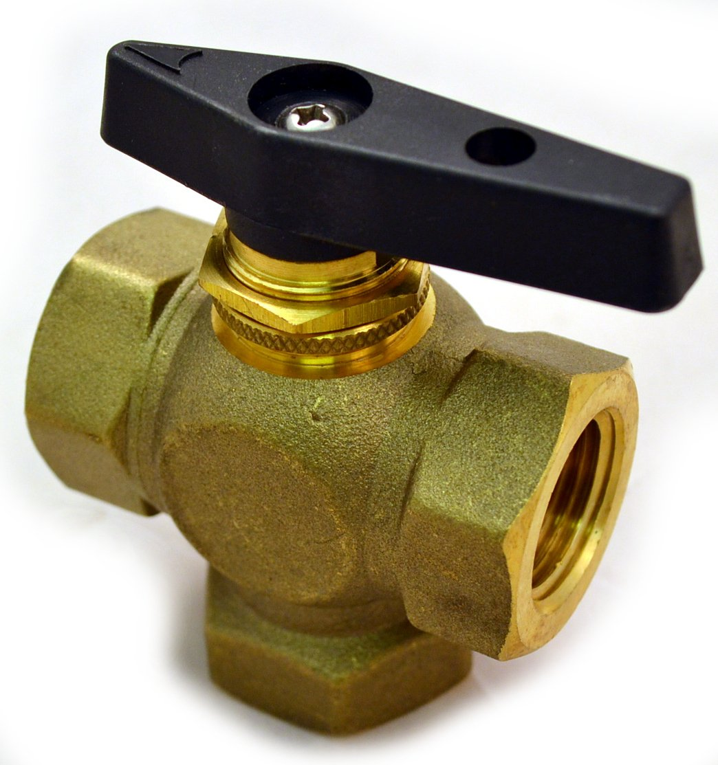 Brass Ball Valve, 3 Way, Female NPT 3/8'', Lead Free, Panel Mount Option