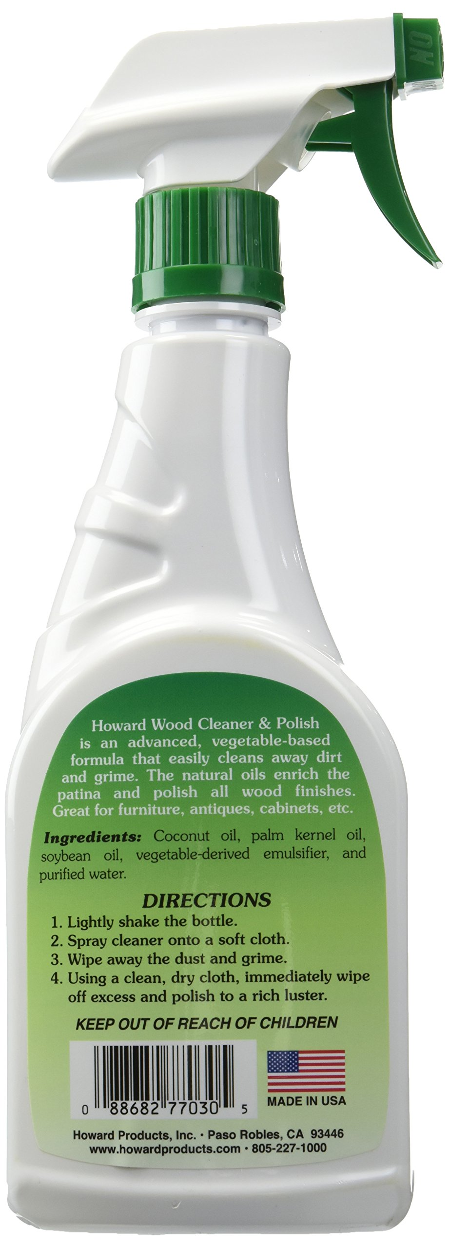 Howard Products Natural Stainless Steel Cleaner Trigger Spray (2-Pack, Fragrance-Free) by Howard Products (Image #2)