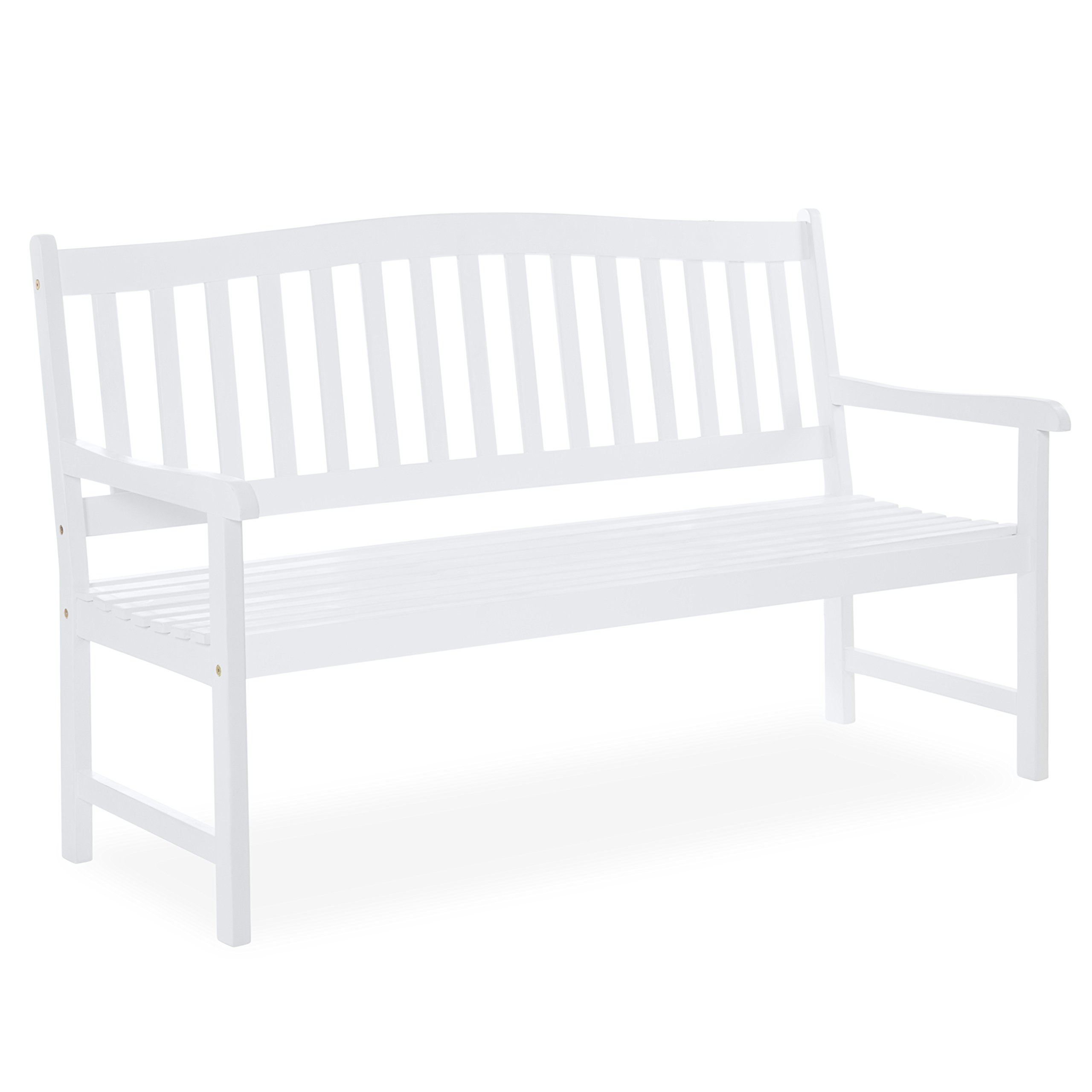 Best Choice Products 60 inches Classic Acacia Wood Outdoor Bench for Patio, Garden, Backyard, Porch - White by Best Choice Products