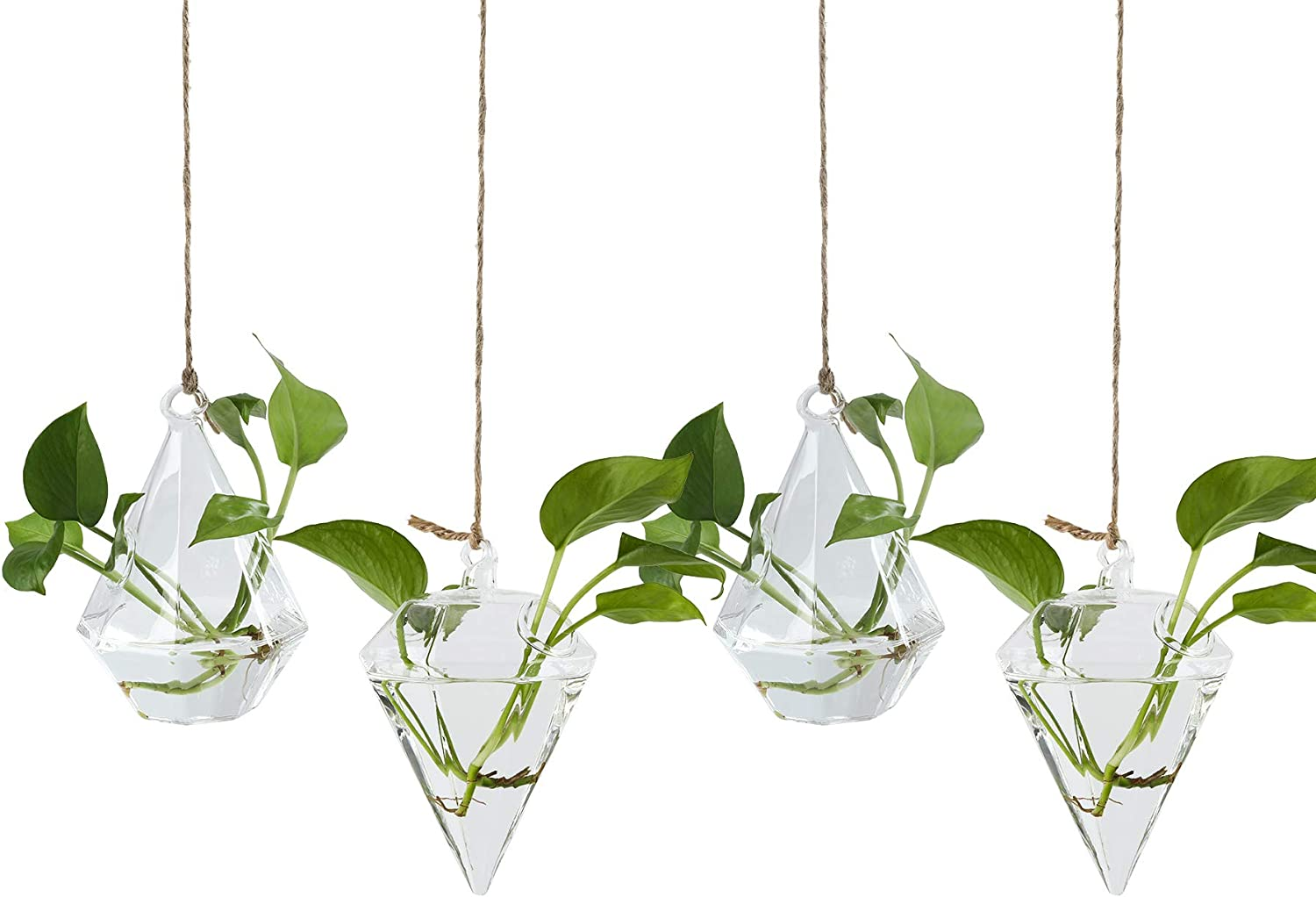 TQVAI 4 Pack Hanging Glass Globe Diamond Air Planter Terrarium Vase with 39 inch Sling (Not Included The Plants)