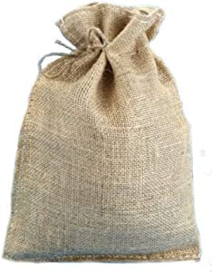 """10"""" x 14"""" Natural Burlap Bags with Jute Drawstring (10 Pack) - Large Burlap Pouch Sack Favor Gift Bag for Showers Weddings Parties and Receptions - 10x14 inch"""