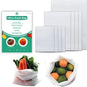 Reusable Produce Saver Bags to Keep Produce Fresh Longer, BPA Free, Reusable Produce Storage Bags for Vegetable Fruit and flower 9PCS