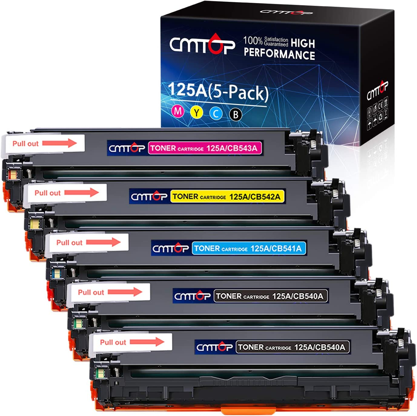 CMTOP 125A Remanufactured Replacement for HP125A CB540A CB541A CB542A CB543A Toner Cartridge, for HP Color Laserjet CM1312 CM1312nfi CP1215 CP1515n CP1518ni, 5-Pack (2 Black 1 Cyan 1 Magenta 1 Yellow)