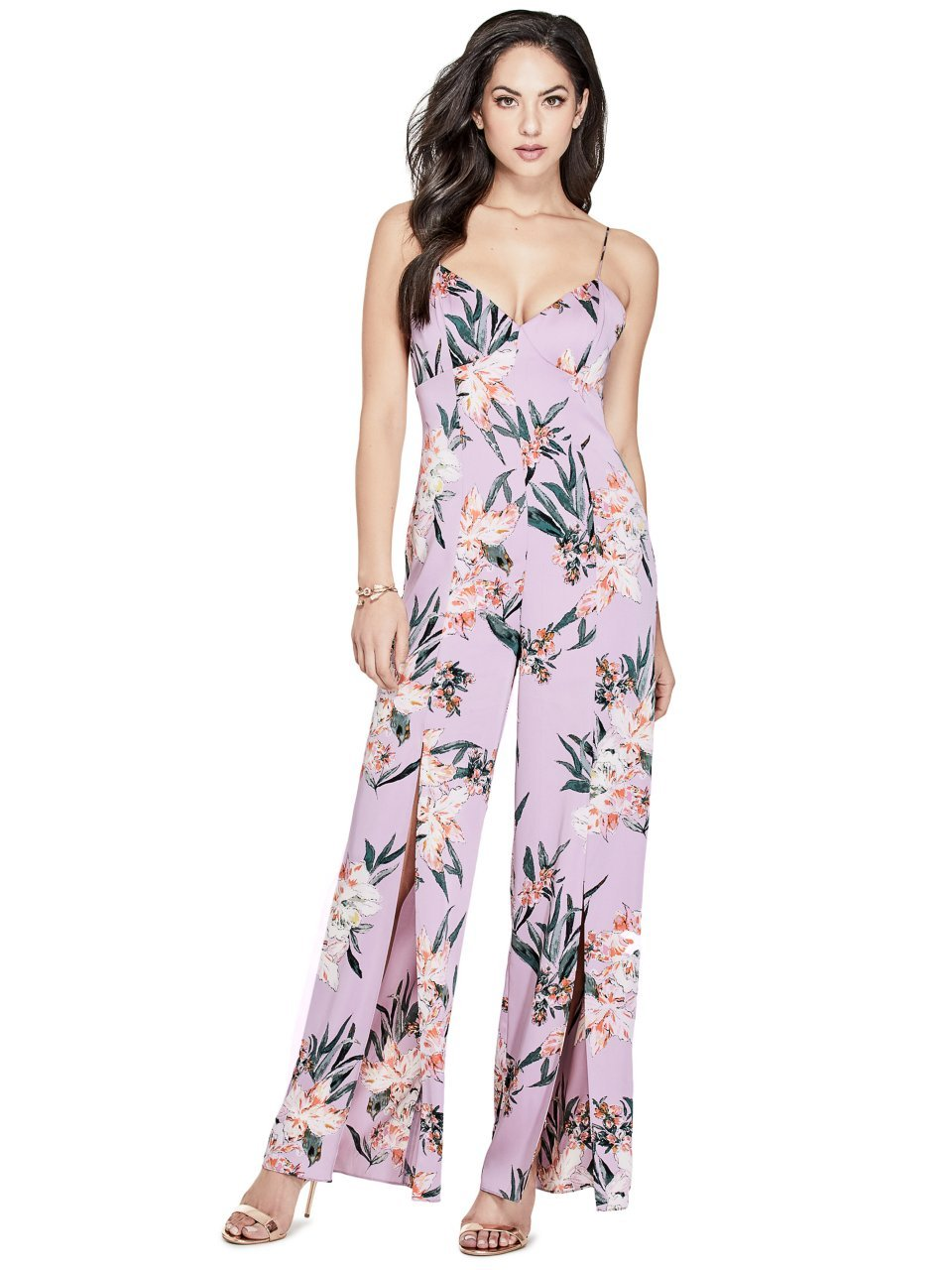 GUESS Women's Sleeveless Leigh Jumpsuit, Tropic Iris Lavender, 0