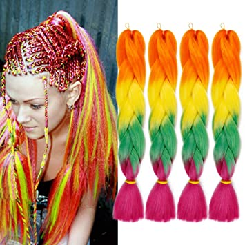 4Packs Jumbo Braiding Hair Ombre Braiding Hair Kanekalon Synthetic 24Inch  Orange Braids Hair