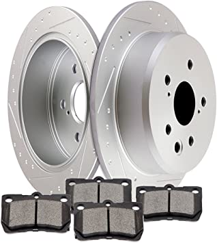 Rear Discs Brake Rotors /& Ceramic Pads Kit For 2006-2012 Lexus IS250 Slotted