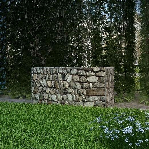 Festnight - Cesta de Piedra para jardín al Aire Libre, gabón, decoración de jardín de Acero, Acero galvanizado, 100 x 50 x 50 cm: Amazon.es: Jardín
