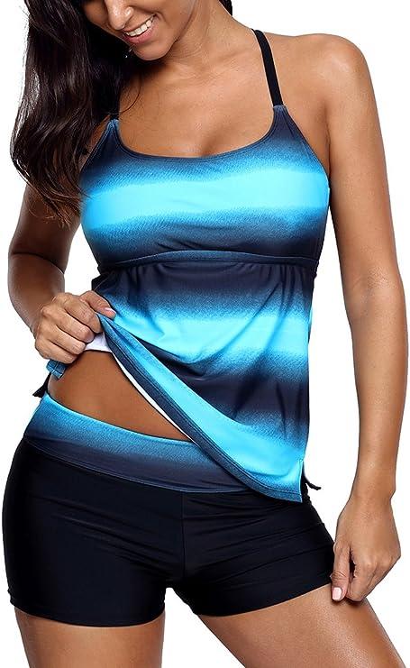TALLA XL. Socluer Bañador de Dos Piezas para Mujer Tankini Top Estampado de Rayas con Trajes de baño