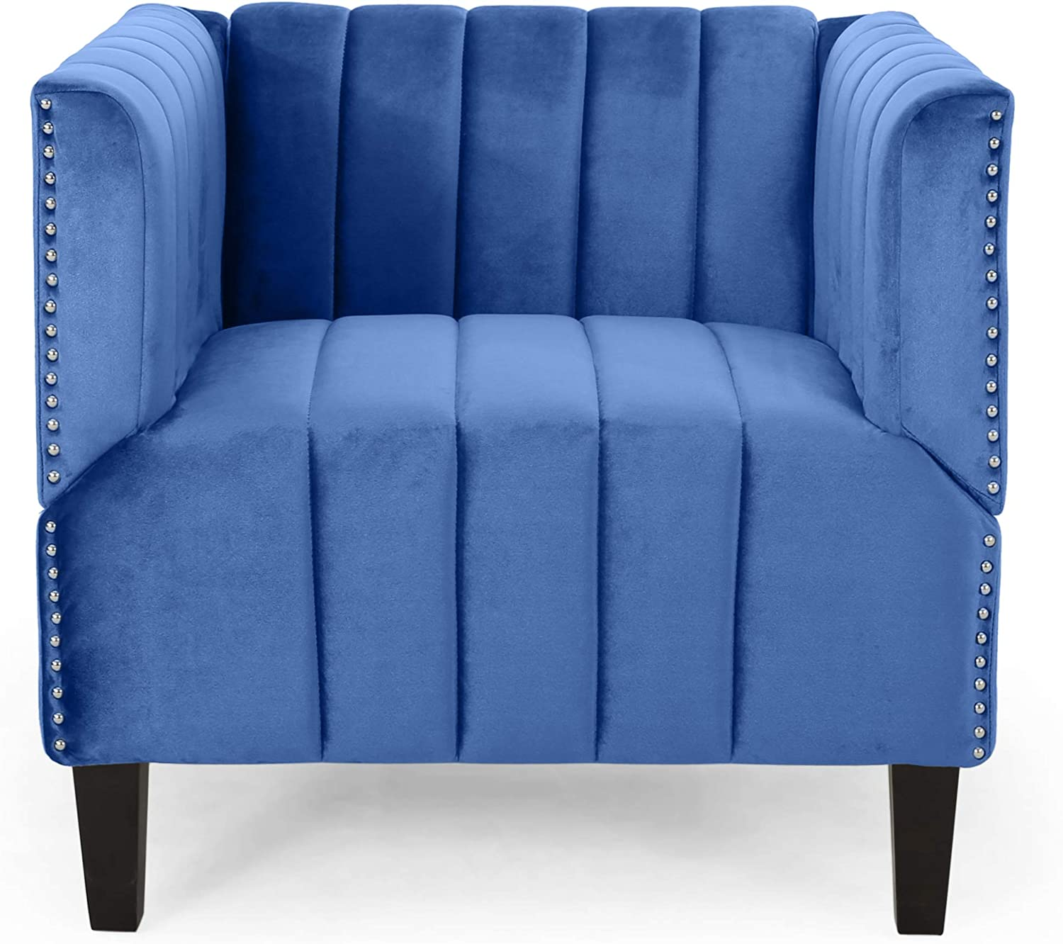 Christopher Knight Home Ferdinand Contemporary Channel Stitch Velvet Club Chair, Navy Blue, Dark Brown