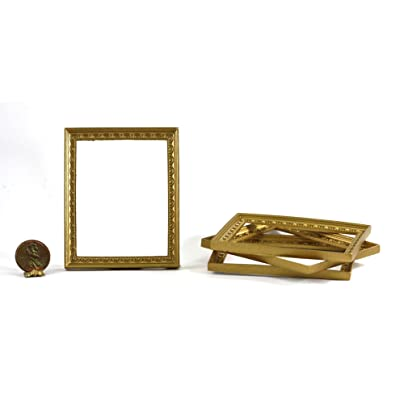 Dollhouse Miniature Set of 4 Large Rectangular Gold Picture Frames with Scallop Design: Toys & Games