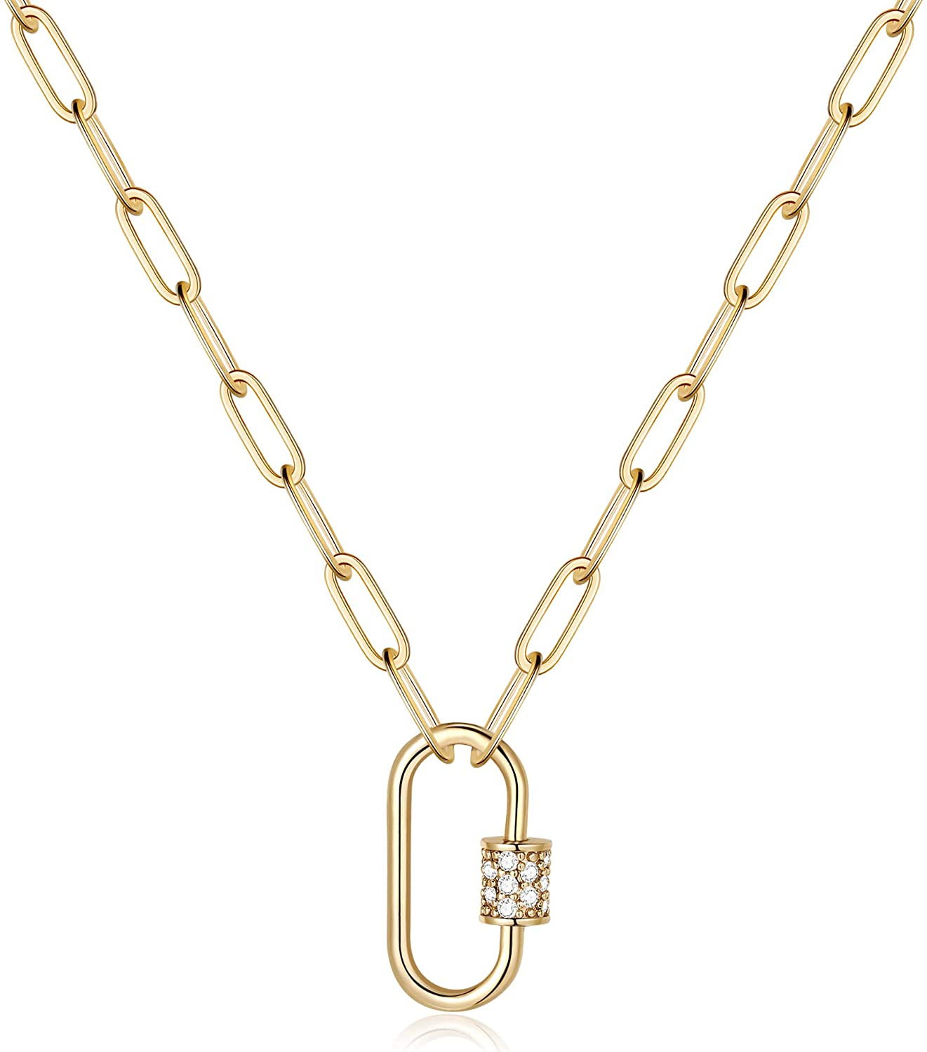 Rose gold plated paper clip chunky oval chain necklace with toggle clasp and rose gold plated stainless steel lock pendant