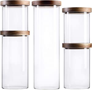 S1EGAN Glass Canister Set of 5 for Kitchen with Acacia Wood Lid, Borosilicate Glass Storage Containers, Airtight Pantry Jars for Coffee, Candy, Flour, Spaghetti, Pasta, Spice(MIXED)