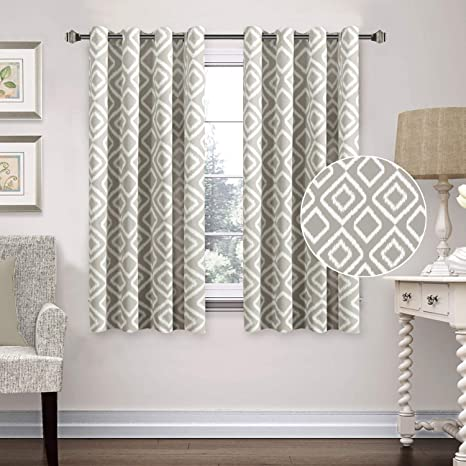 Blackout Curtains 63 inch Ikat Fret Printed Curtains for Bedroom Living  Room, Noise Reducing Thermal Insulated Grommet Curtain Drapes (Greige Dove  ...