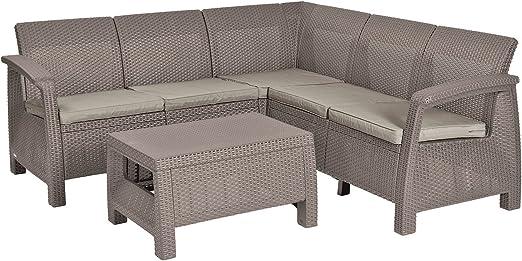 Mirjan24 Muebles de Jardín Corfu Relax, rinconera + Mesa, imitación de ratán Set, Asiento Grupo, Juego, Muebles para jardín, balcón: Amazon.es: Juguetes y juegos