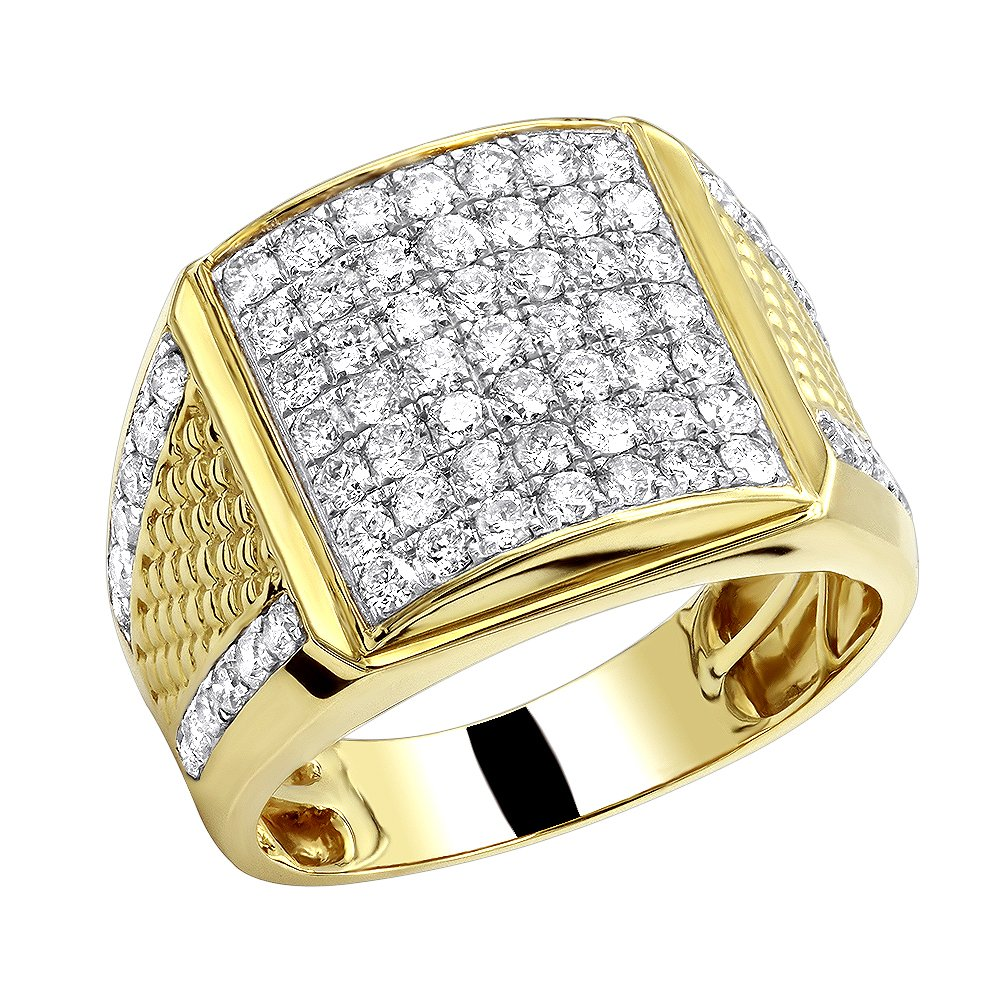 10k Rose, White or Yellow Solid Gold Men's Diamond Rind 2.25ctw (Yellow Gold, Size 10.5)