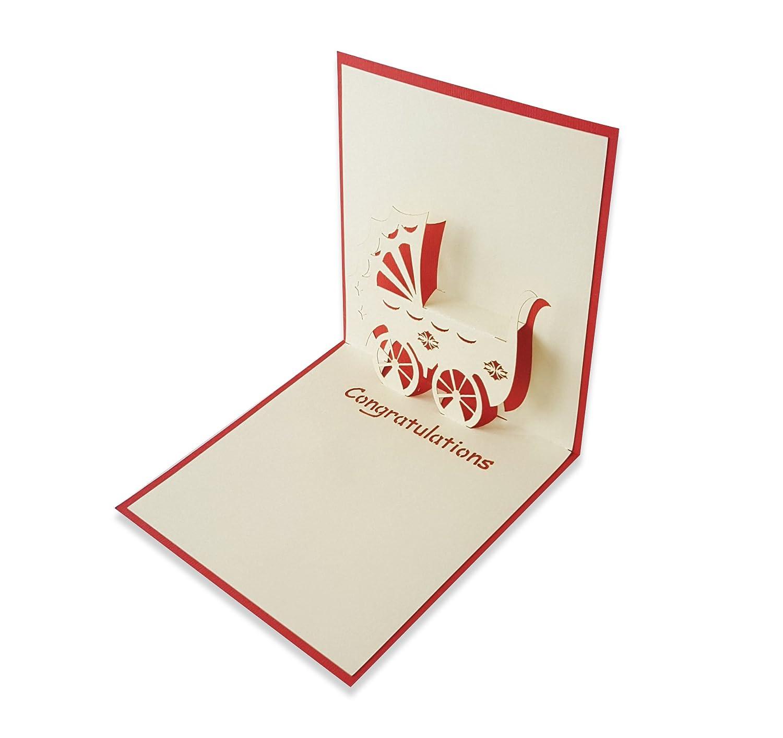 Yokarta 3d Pop Up Cards New Born Baby Congratulation Message Card
