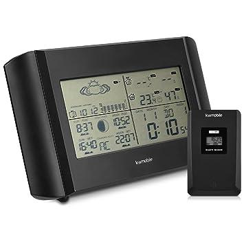 kwmobile Estación meteorológica con Reloj Despertador - para medir Temperatura Humedad con Sensor y Alarma - con Fase Lunar y termómetro en Negro