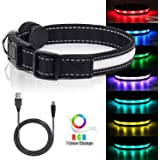 LED Safety Dog Collars - USB Rechargeable 7 Changing Colors Light Up Dog Collar Water Resistant Adjustable Night Safety…