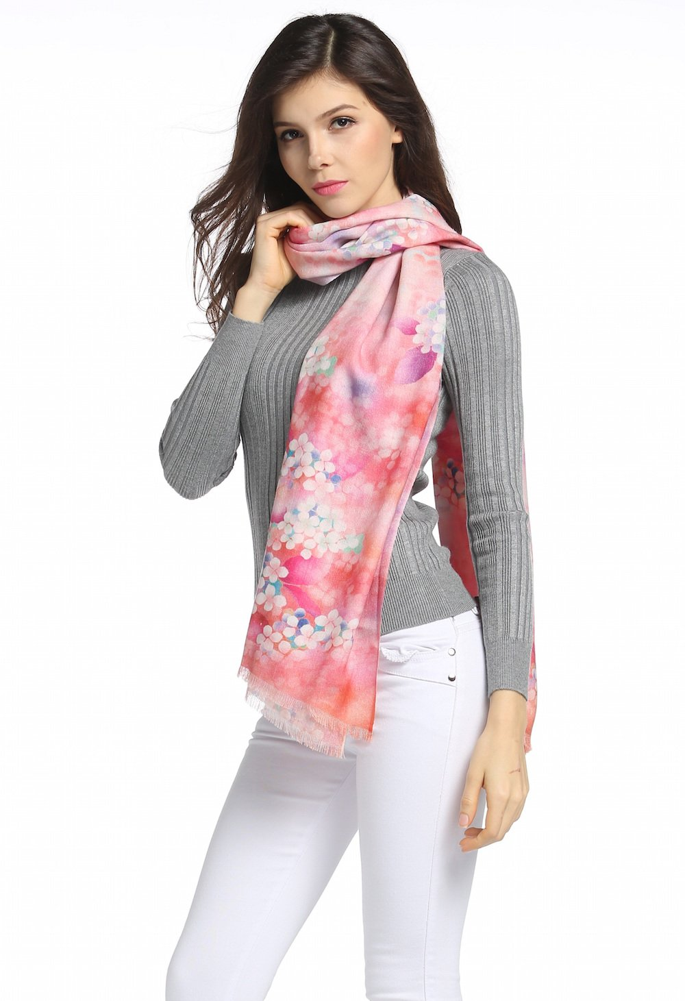 Wool Scarf Winter Scarfs For Women Lightweight Scarves 80s Fine Wool Soft As Cashmere Scarf (Pink Floral)