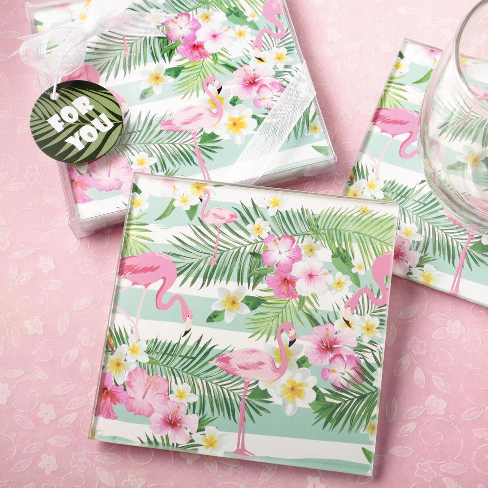 10 Sets of 2 Tropical Flamingo Design Glass Coasters