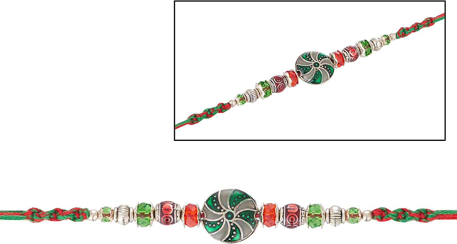 Rakhi for Brother Multicolor Thread Bracelet Wheel Designer Rakhi with Multicolor Faux Stones Fancy Designer Rakhi Best Modern Rakhi Rakshabandhan Traditional Raksha Bandhan Speacial