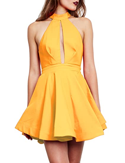 b5f147a1f06 Women s Sexy V Neck Low Cut Open Back Mini Backless Club Dress Hollow  Yellow
