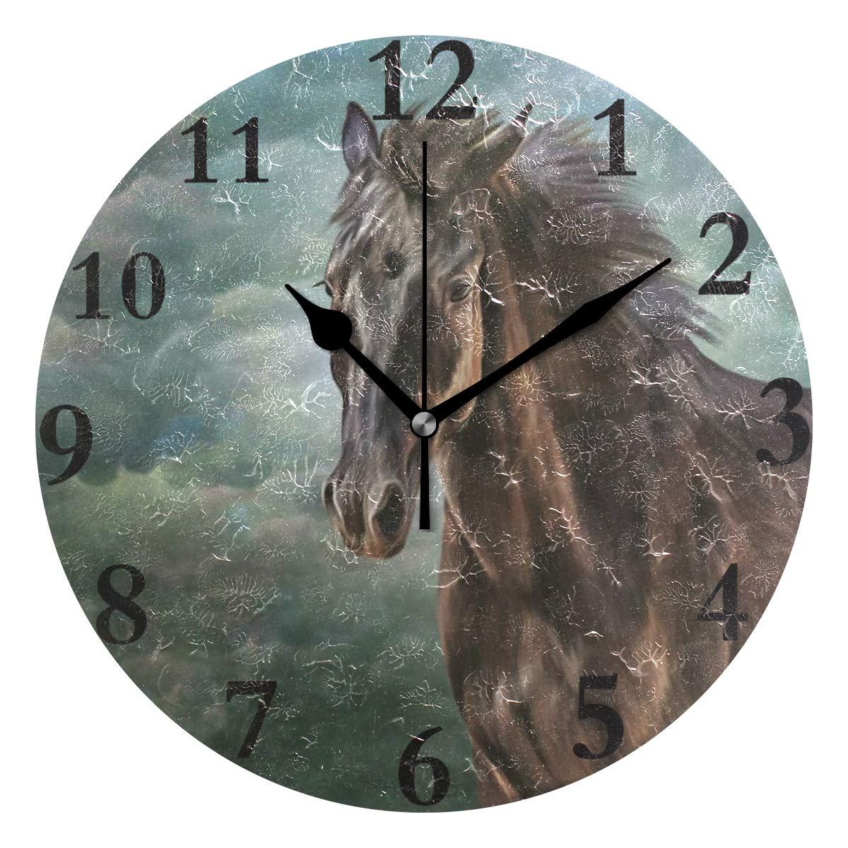 Ladninag Wall Clock Vintage Cute Horse Animal Sky Clouds Silent Non Ticking Decorative Round Digital Clocks Indoor Outdoor Kitchen Bedroom Living Room