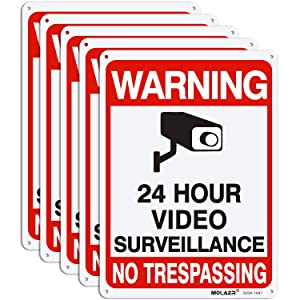 Video Surveillance Sign, MOLAER 5-Pack No Trespassing Signs, 10