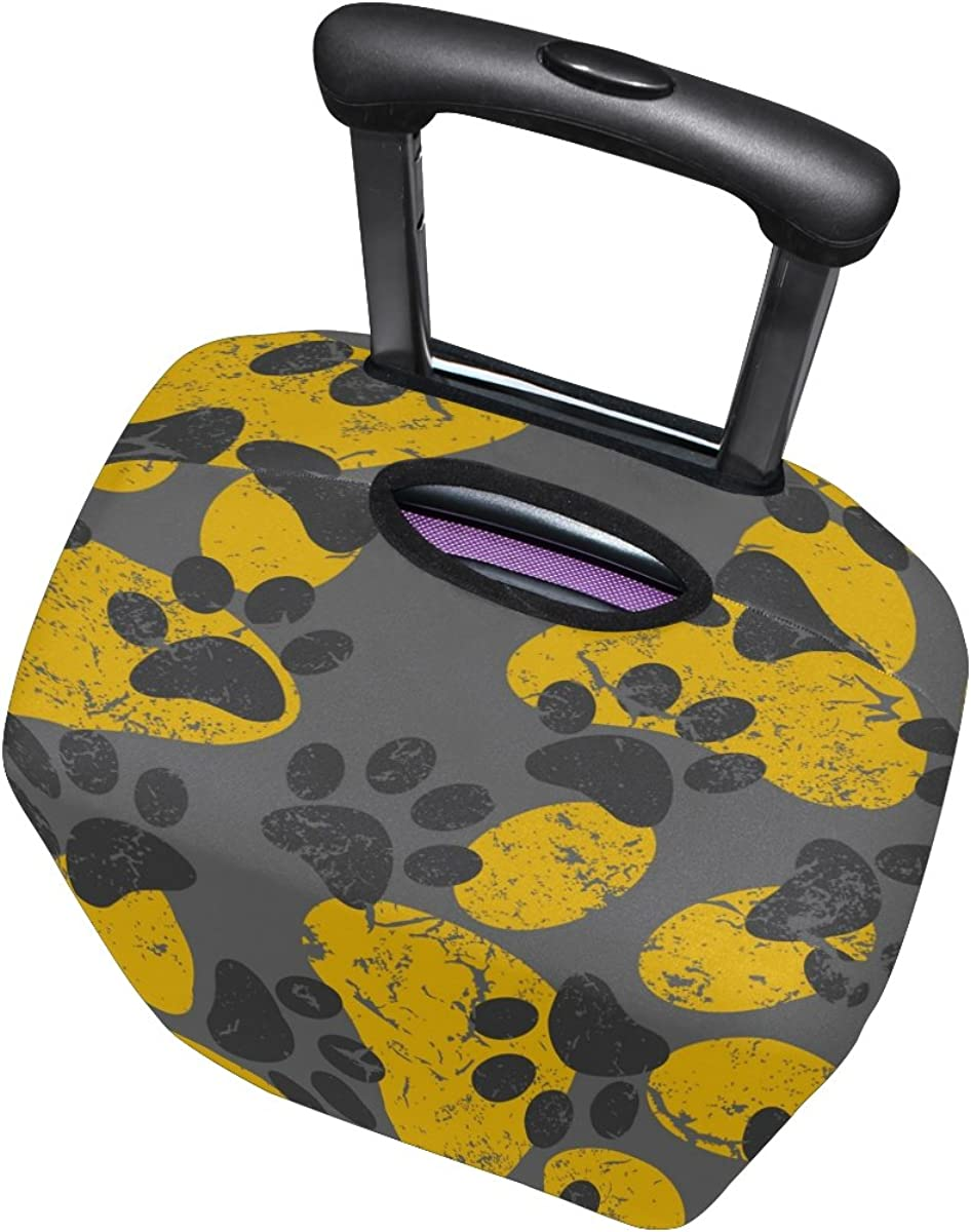 LAVOVO Cat Dog Gray Yellow Paws Footprints Luggage Cover Suitcase Protector Carry On Covers