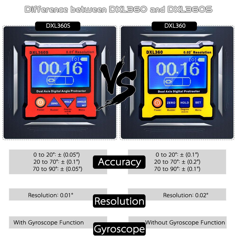 KKmoon DXL360 Doppio asse angolo digitale goniometro con 5 lato magnetico Base Display digitale di alta precisione doppio asse livello 100-240V 50-60Hz