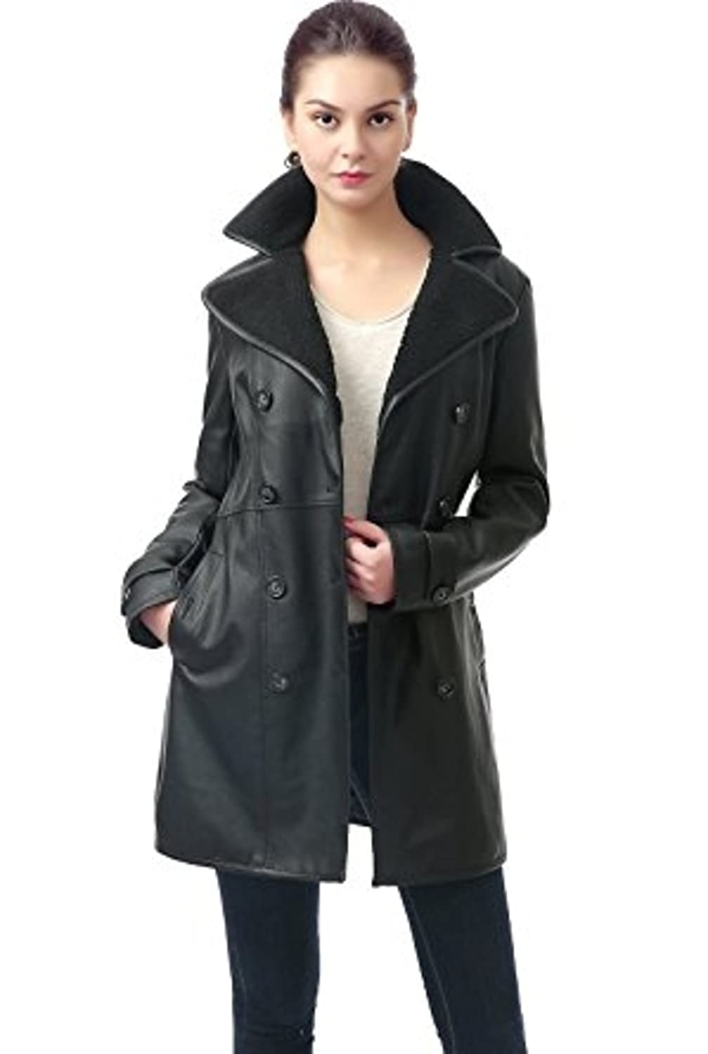 Number Seven Women and Ladies Leather Trench Coat with Fur