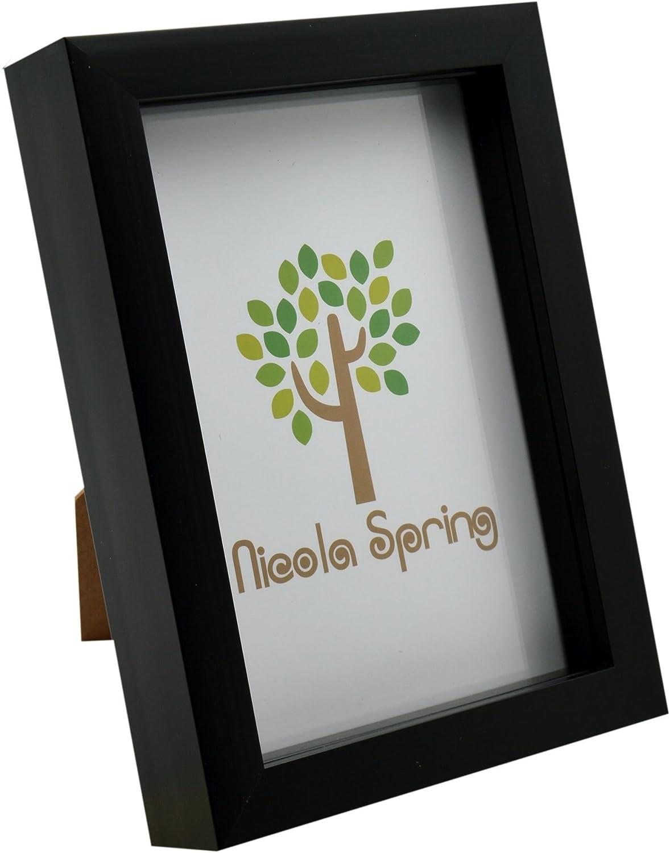 Nicola Spring Black 5x7 Box Photo Frame - Standing & Hanging
