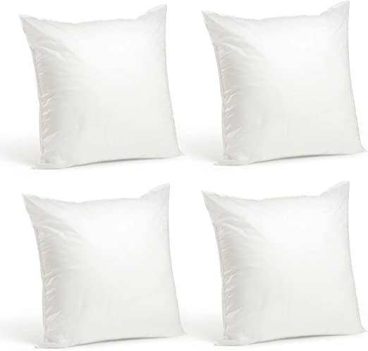 Premium Hypoallergenic Pillow Insert Sham Square Forms ALL SIZES Foamily 4 Pack