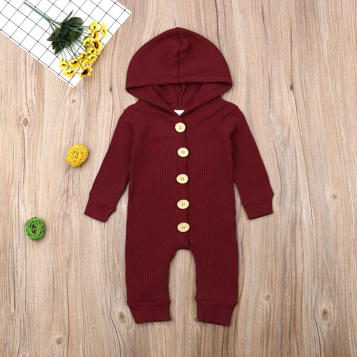 Mistshopy Infant Baby Knit Long Sleeve Romper Boy Girl Hooded Button Jumpsuit One Piece Outfits Clothes