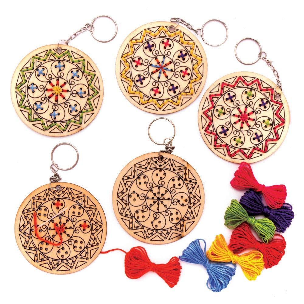 Pack of 5 Baker Ross AW984 Rangoli Wooden Cross Stitch Keyring Kits Assorted -Arts and Crafts for Kids